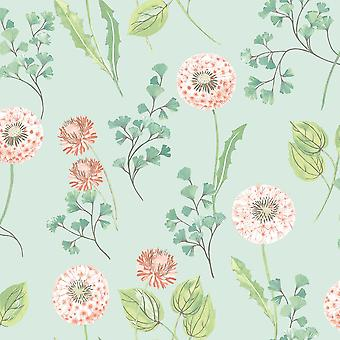 Dandelions Floral Wallpaper Heather Duck Egg Coral Silver Paste Wall Holden