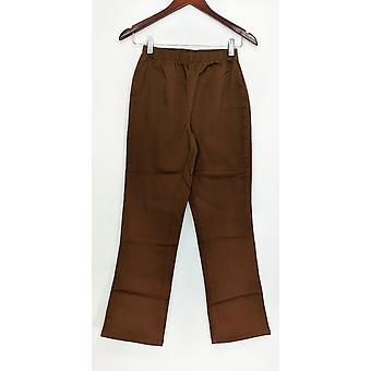Denim & Co. Petite leggings stretch støvle cut chokolade brun A01724