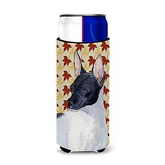 Rat Terrier Fall Leaves Portrait Ultra Beverage Insulators for slim cans SS4376M