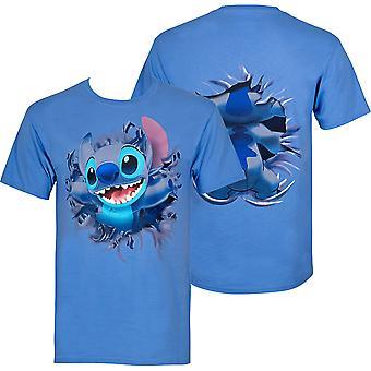 Lilo And Stitch Bursting Through Blue Disney T-Shirt