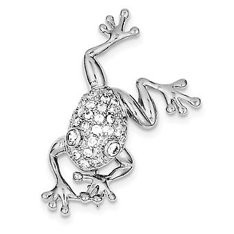 925 Sterling Silver Polished Rhodium plated CZ Cubic Zirconia Simulated Diamond Frog Pin Jewelry Gifts for Women