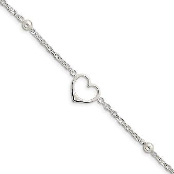 925 Sterling Silver Polished Lobster Claw Closure Dangling Love Heart Anklet 10 Inch Lobster Claw Jewelry Gifts for Wome