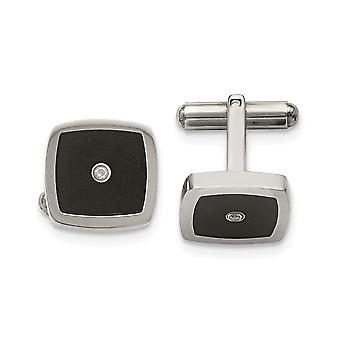 Stainless Steel Polished Enameled CZ Cubic Zirconia Simulated Diamond Cuff Links Jewelry Gifts for Men