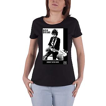 Bob Dylan T Shirt Blowing in the Wind new Official Womens Skinny Fit Black