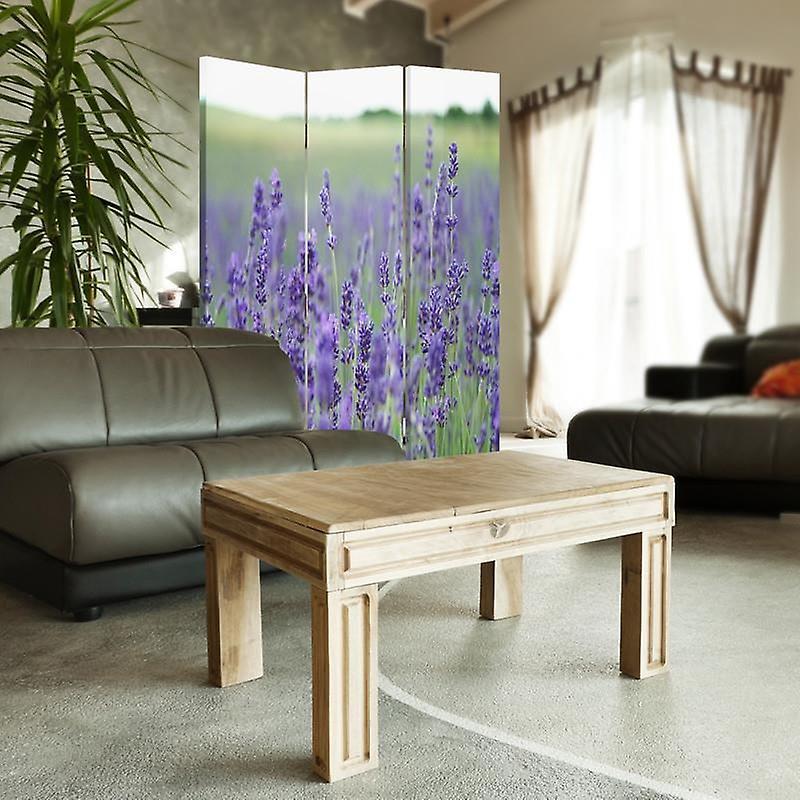 Diviseur de chambre, 3 panneaux, double-sided, toile, champ de lavande 2