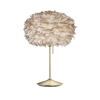 Umage Eos Table Lamp - Light Brown Feather Eos Medium/Brushed Brass Stand