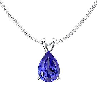 Dazzlingrock Collection 10K 9x7 mm Pear Cut Tanzanite Ladies Solitaire Pendant (Silver Chain Included), White Gold
