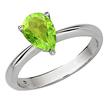 Dazzlingrock collectie 10K 97mm Pear Cut Peridot Solitaire Bridal Verlovings ring, wit goud