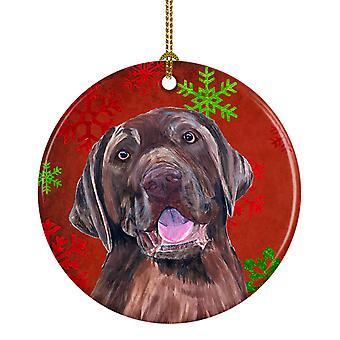 Labrador los copos de nieve rojo vacaciones Navidad adorno cerámica SC9424