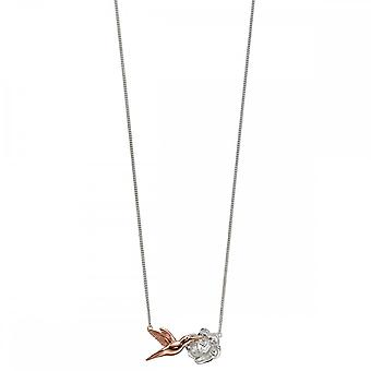 Elements Silver Rose Gold Plated Hummingbird Necklace N4313