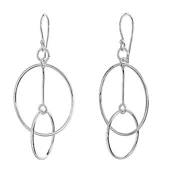 Dew Sterling Silver Set Circles With Bar Motion Drop Earrings 6829HP027