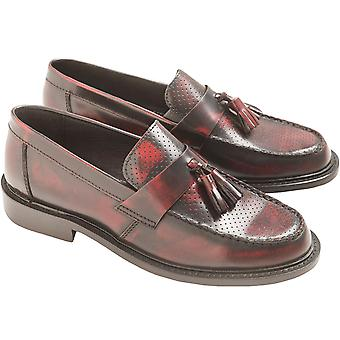 Ikon Mens Quad Punch Casual Leather Tassel Retro Inspired Loafers - Bordo