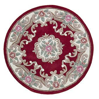 Lotus Premium Aubusson Rug - Circle - Red