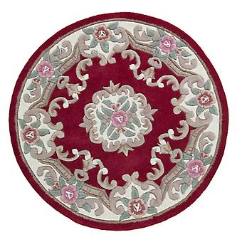 Lotus Premium Aubusson Teppich - Kreis - Rot