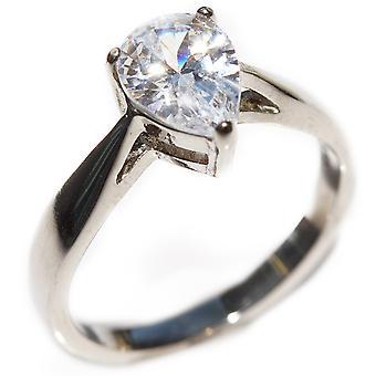 Ah! Jewellery Ladies Stainless Steel Simulated Pear Cut 1.70ct Diamond Ring.