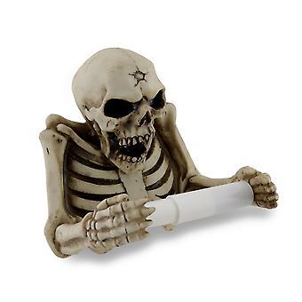 Malvado esqueleto escultórico aseo Portarollos