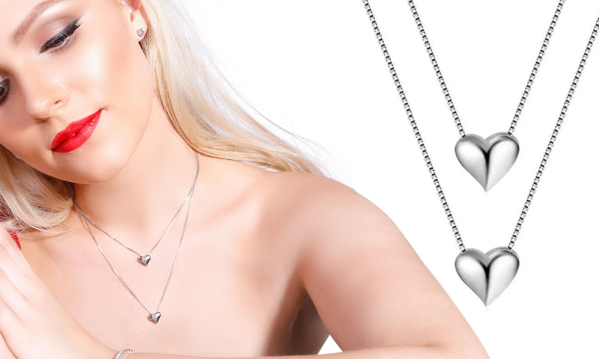 Double Heart Layer Necklace