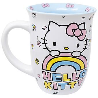 Hello Kitty 16 Oz White and Blue Ceramic Mug