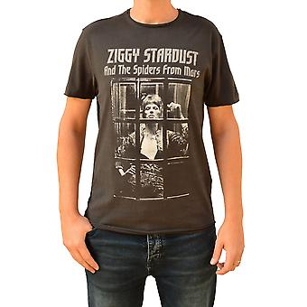Amplified David Bowie Ziggy Rise & Fall Charcoal Crew Neck T-Shirt