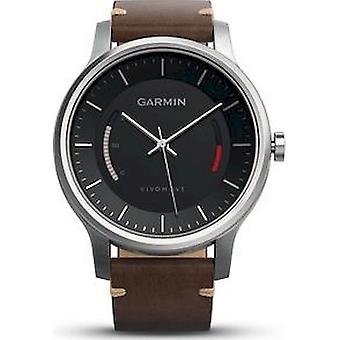 Garmin - sports watch - smartwatch - vivomove with stainless steel case and premium leather strap - 010-01597-20