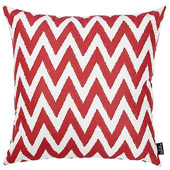 "18""x18"" Red Nautical Chevron Decorative Throw Pillow Cover Printed"