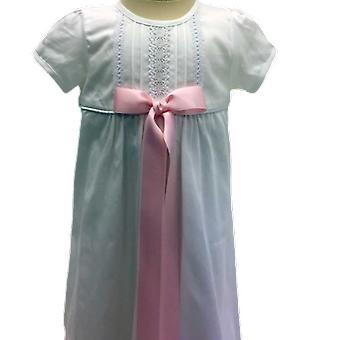 Dopklänning Grace Of Sweden - Tradition I Bomull Med Rosa Rosett