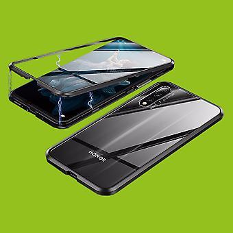 Beidseitiger 360 Grad Magnet / Glas Case Hülle Handy Tasche Bumper Schwarz für Huawei Honor 20 / Nova 5T / Honor 20 Pro