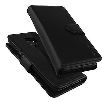 For Samsung Galaxy S9 Wallet Case,iCoverLover Real Cow Leather Cover,Black