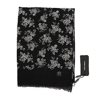 Dolce & Gabbana Gray Cashmere Shawl Floral Scarf