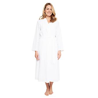 Cyberjammies 1364 Women's Nora Rose Ellen White Jacquard Print Cotton Woven Long Robe