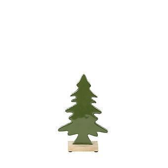 Ljus & Levande Ornament 16.5x6x26cm Träd Grön Och Trä Naturliga