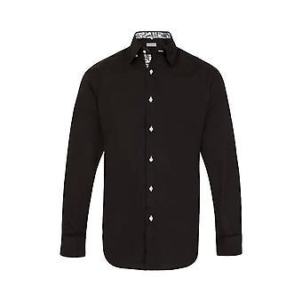 JSS Plain Black Regular Fit Shirt With White Floral Trim