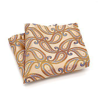 Light peach & orange paisley pattern pocket square