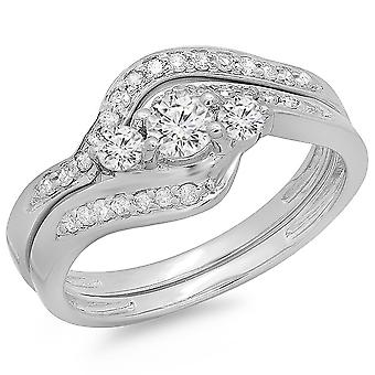 Dazzlingrock Collection 0.60 Karaat (ctw) 14K Real Round Diamond Ladies Bruidsring Set Wit Goud