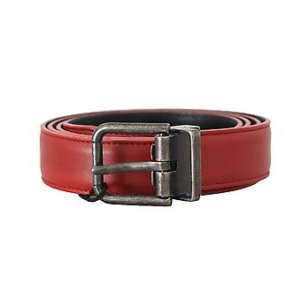 Dolce & Gabbana Red Leather Gray Brushed Buckle Mens Belt