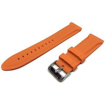 Oranje rubberen horlogeband centrum nok roestvrijstalen gesp maten 18mm tot 22mm