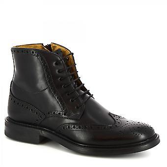 Leonardo Shoes Men's handmade lace-ups ankle boots black calf leather side zip