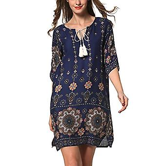 ARANEE Women's Boho Neck Tie Vintage Print Shift Dress, 01-navy Blue, Size Large
