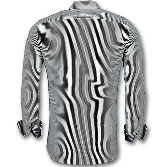 Italian Blouse men-shirt with stripes-3026-White