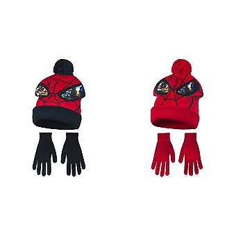Marvel Ultimate Spider-Man Childrens Boys Mask Winter Hat And Gloves Set
