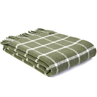 Tweedmill Pure New Wool Knee Lap Blanket, Chequered Check Olive