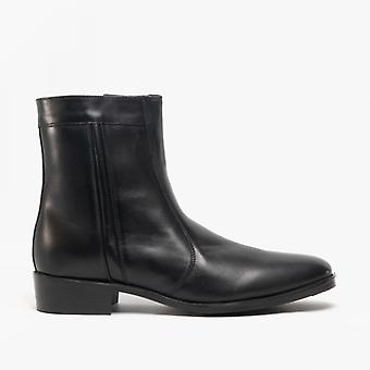 Scimitar Riley Mens Leather Ankle Boots Black