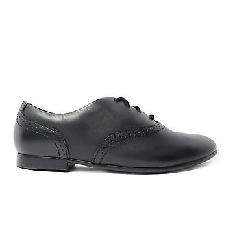 Clarks Jules Walk Black Leather Girls Lace Up Brogue School Shoes