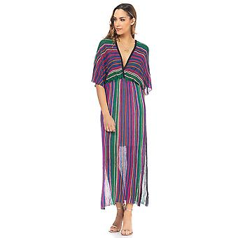 Long Striped knit dress with v.V. neck and back, and bat sleeve
