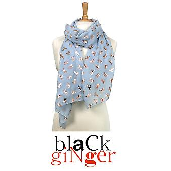 Black Ginger Ice Blue Scarf with Metallic Unicorn Design