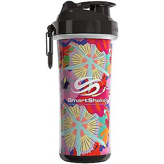SmartShake Double Wall Shaker Cup Flower Power Tropical Red 750 ml