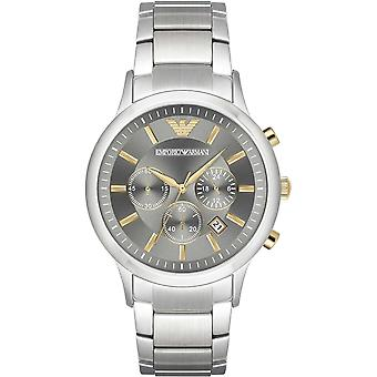 Armani Watches Ar11047 Grey Dial, Gold & Silver Stainless Steel Chronograph Men's Watch