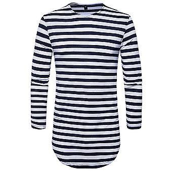 Allthemen Men-apos;s Automne Round Neck Stripes Long T-Shirts