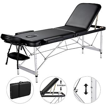 3 Section Portable Massage Table Couch Bed Foldable with Backrest/Headrest/Armrest/Hand Pallet Black