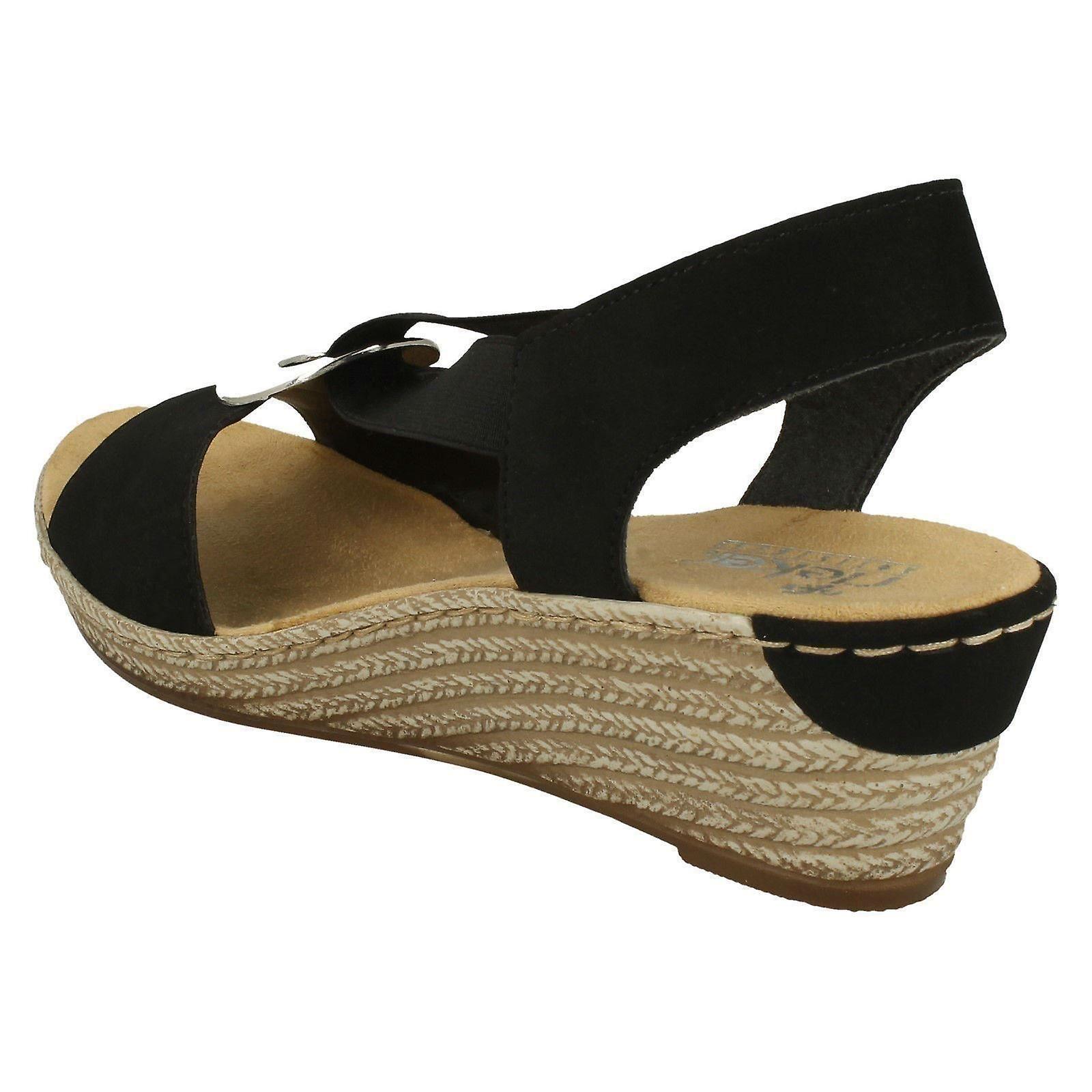 Ladies Rieker Wedge Heeled Sandals 624H6